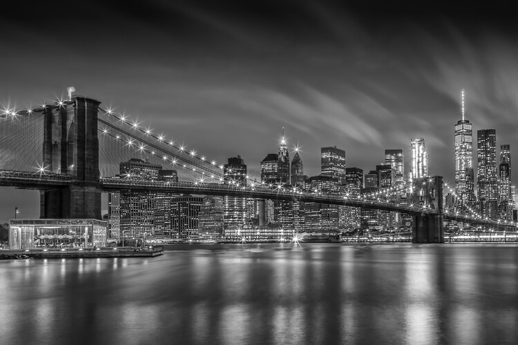 Obraz na plátně BROOKLYN BRIDGE Nightly Impressions | Monochrome