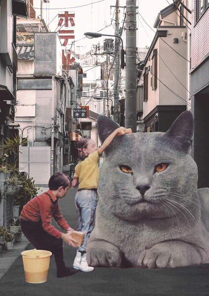 Obraz na plátně Children washing a giant Cat in Tokyo Streets