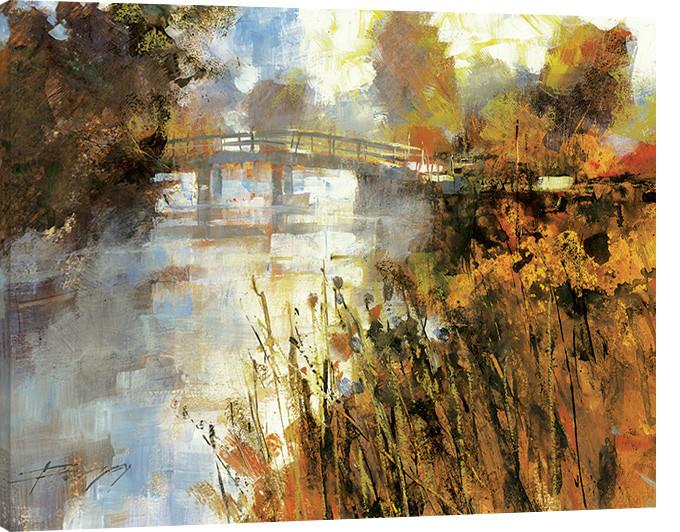 Obraz na plátně Chris Forsey - Bridge at Autumn Morning
