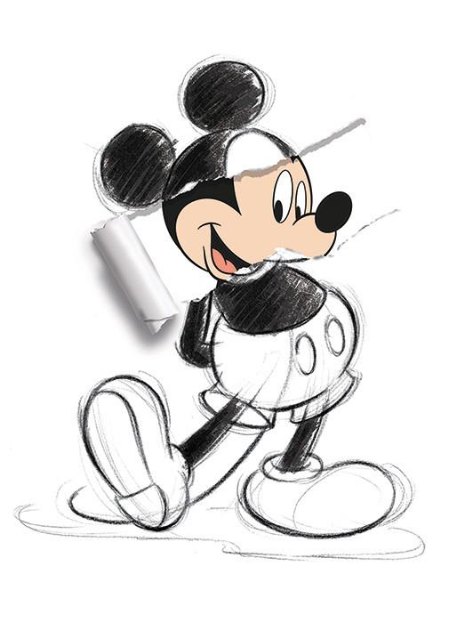 Obraz na plátně Myšák Mickey (Mickey Mouse) - Torn Sketch
