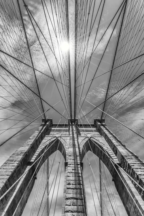 Obraz na plátně NEW YORK CITY Brooklyn Bridge in Detail