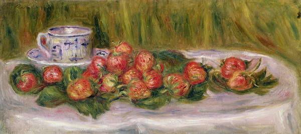 Obraz na plátně Still Life of Strawberries and a Tea-cup, c.1905