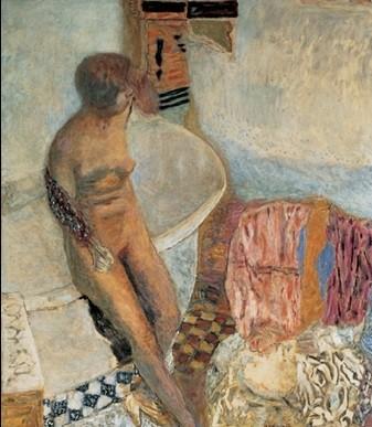 Obrazová reprodukce  Akt ženy opírající se o vanu, 1931 - Pierre Bonnard
