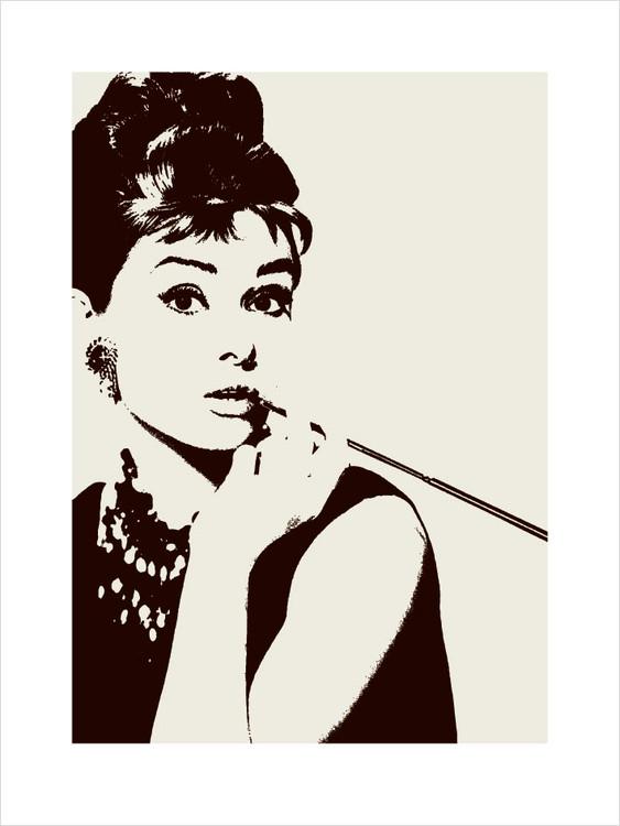 Obrazová reprodukce  Audrey Hepburn - cigarello