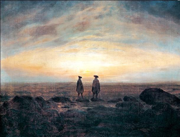 Obrazová reprodukce  Dva muži na břehu pozorující svítání, 1817