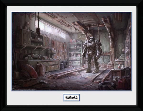 Fallout 4 - Red Rocket Interior Zarámovaný plagát