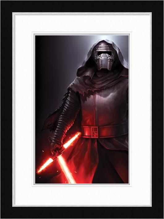 Gwiezdne wojny, część VII : Przebudzenie Mocy - Kylo Ren Stance oprawiony plakat