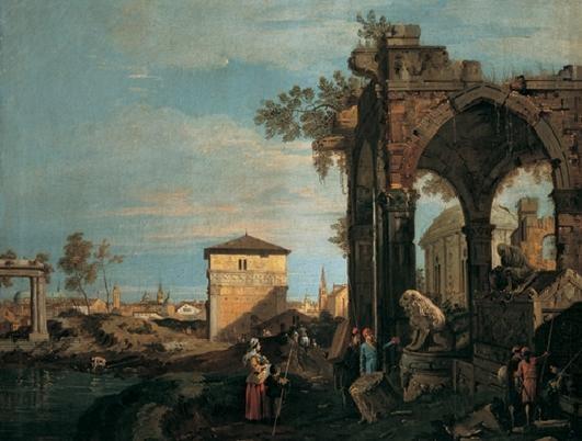 Obrazová reprodukce Krajina s ruinami