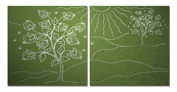Obraz Krajina se stříbrnými stromy