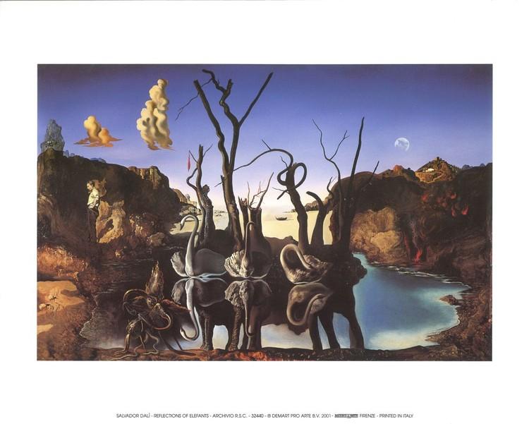 Obrazová reprodukce Labutě odrážející slony, 1937