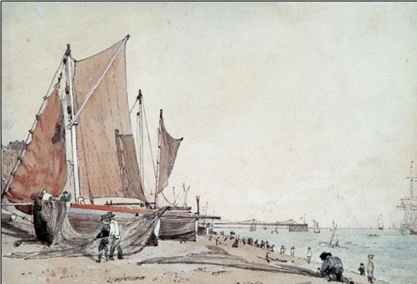 Obrazová reprodukce  Loď na pláži v Brightonu