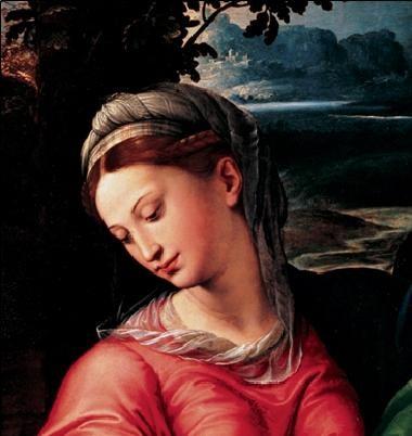 Obrazová reprodukce  Madona a dítě se svatým Michalem, Josefem a sv. Janem Křtitelem (část)
