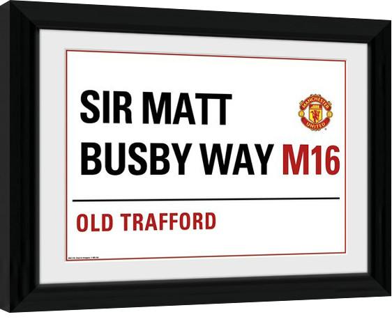 Manchester United - Street Sign zarámovaný plakát