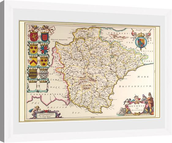 Maps - Devon (White) zarámovaný plakát