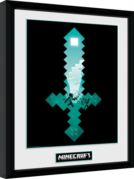 Minecraft Diamond Sword Oprawiony Plakat Obraz Kup Na Posterspl