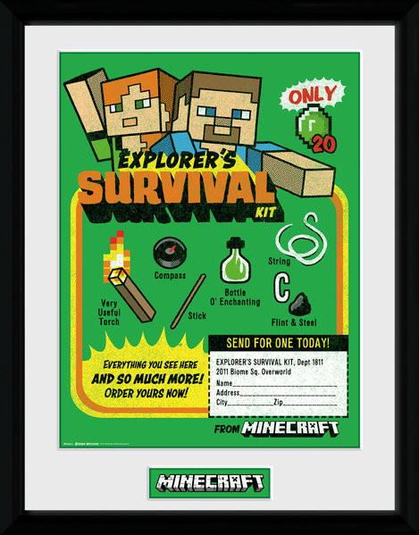 Minecraft - Survival Kit zarámovaný plakát