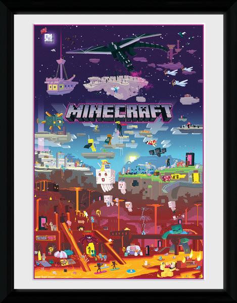 Minecraft - World Beyond zarámovaný plakát