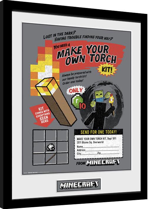 Minecratf - Make Your Own Torch zarámovaný plakát