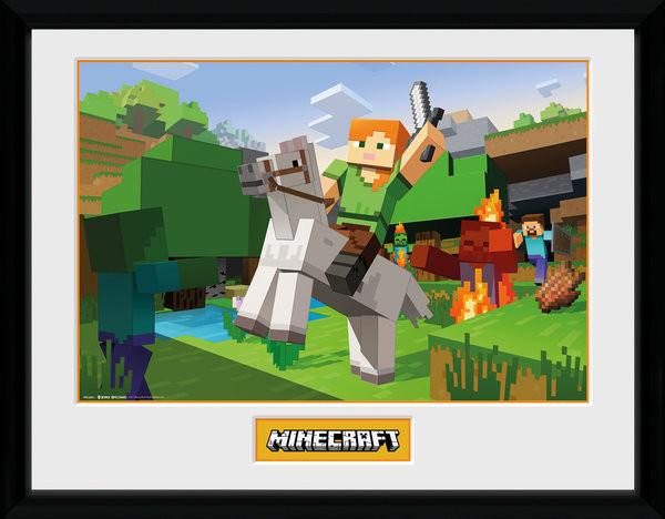 Minecratf - Zombie Attack zarámovaný plakát