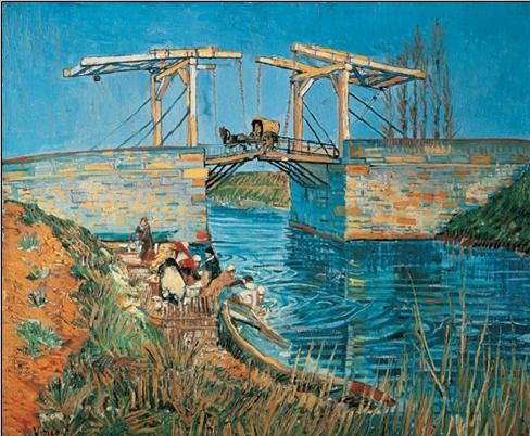 Obrazová reprodukce Most Langlois v Arles s pradlenou, 1888