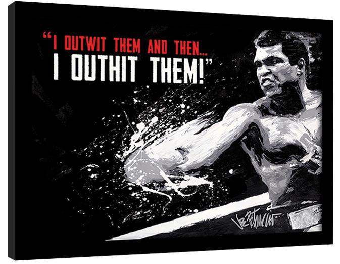 Muhammad Ali - outwit outhit zarámovaný plakát