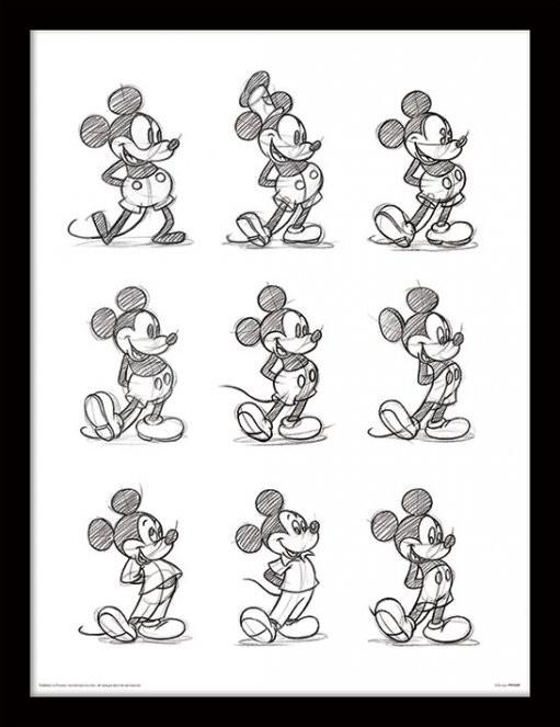 Myšák Mickey (Mickey Mouse) - Sketched Multi zarámovaný plakát