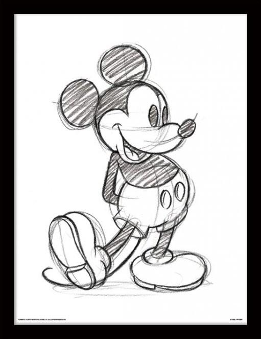 Myšák Mickey (Mickey Mouse) - Sketched Single zarámovaný plakát