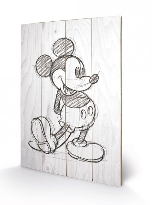 Obraz na drewnie Myszka Miki (Mickey Mouse) - Sketched - Single