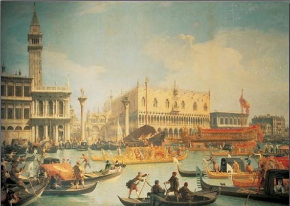Obrazová reprodukce  Návrat Bucintora ve svátek Nanebevstoupení Páně, Benátky, 1732