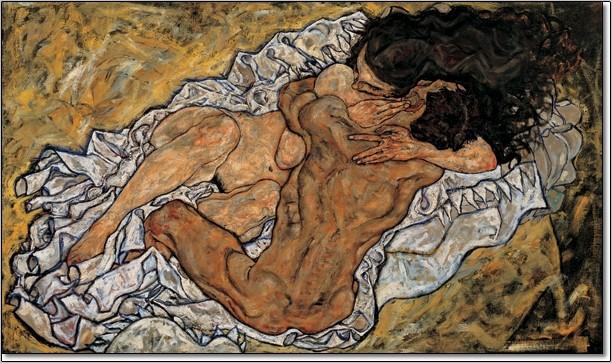 Obrazová reprodukce  Objetí (Milenci II), 1917