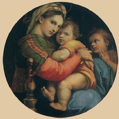 Obrazová reprodukce  Rafael Santi - Madona della Sedia - Madona s židlí, 1514