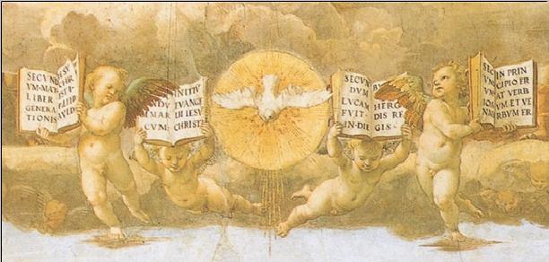 Raphael - The Disputation of the Sacrament, 1508-1509 (part) Obrazová reprodukcia