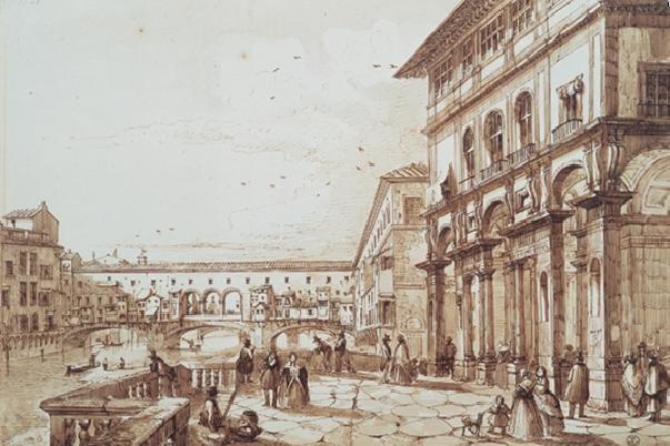 Obrazová reprodukce  Řeka Arno s Ponte Vecchio z terasy Uffizi