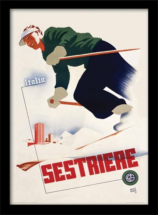 Retro - Italia sestriere zarámovaný plakát