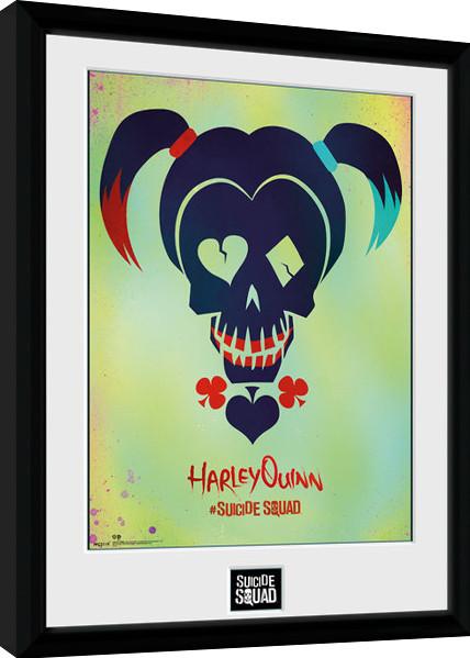 Sebevražedný oddíl - Harley Quinn Skull zarámovaný plakát
