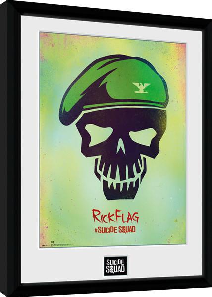 Sebevražedný oddíl - Rick Flag Skull zarámovaný plakát
