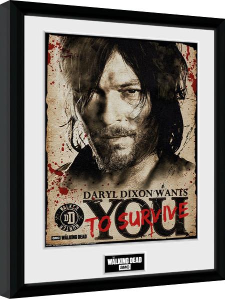 The Walking Dead - Daryl Needs You zarámovaný plakát