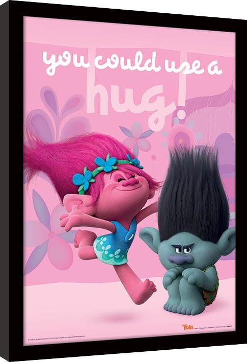 Trollové - Hug zarámovaný plakát