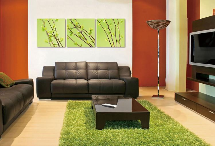 Obraz  Twigs on green canvas