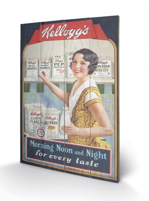 Obraz na drewnie VINTAGE KELLOGGS – morning,noon&night
