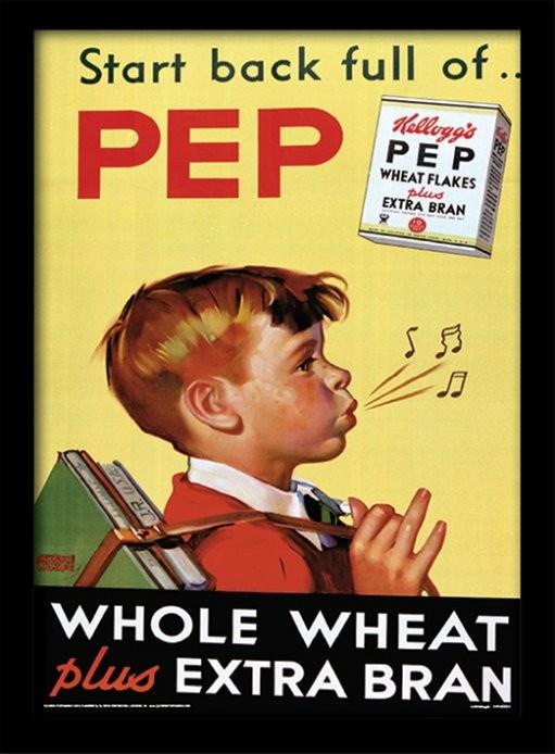 Vintage Kelloggs - Start Back Full Of Pep zarámovaný plakát