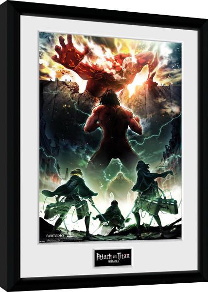 Zarámovaný plakát Attack On Titan Season 2 - Key Art