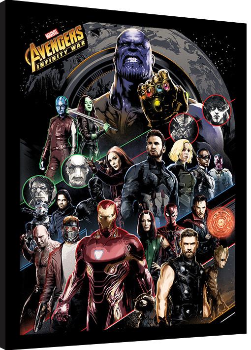 Zarámovaný plakát Avengers Infinity War - Character Coloured Bands