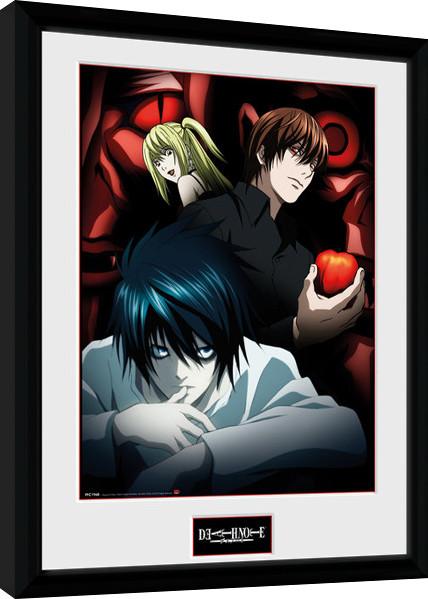 Zarámovaný plakát Death Note - Light L and Misa