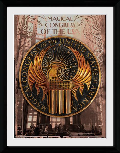 Zarámovaný plakát Fantastická zvířata a kde je najít - Magical Congress
