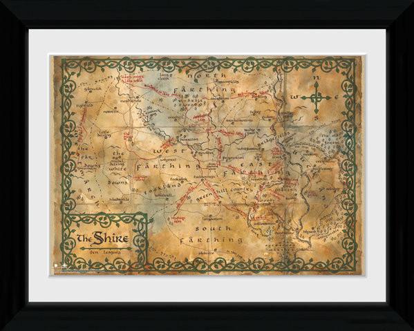 Zarámovaný plakát Hobit - Map