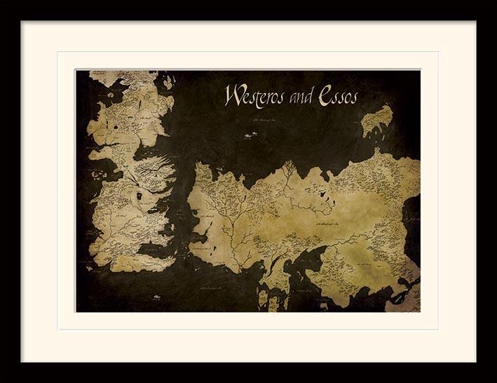 Zarámovaný plakát Hra o Trůny (Game of Thrones) - Westeros
