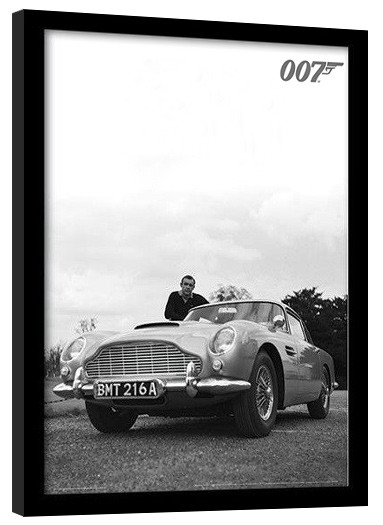Oprawiony plakat JAMES BOND 007 - connery b+w