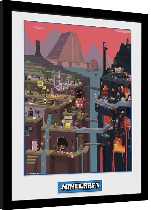 Zarámovaný plakát Minecraft - World