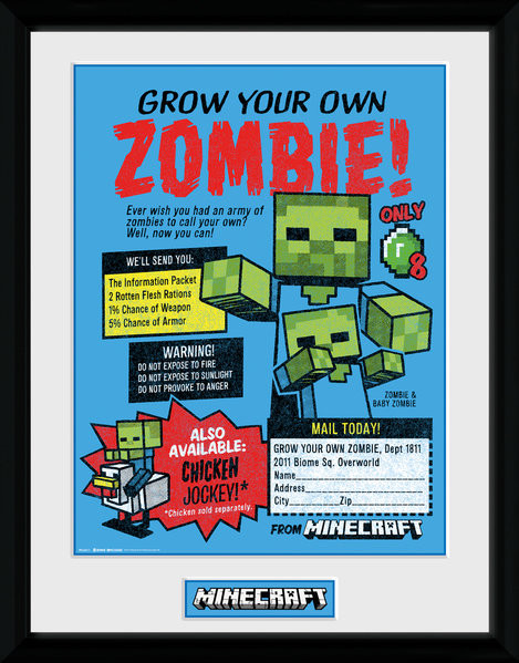 Zarámovaný plakát Minecratf - Grow Your Own Zombie